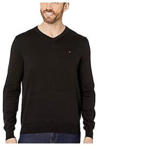 Tommy Hilfiger Mens Logo Signature V Neck Sweater